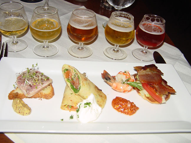 a tasting of brews and appetizers at beerbistro